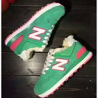 NEW BALANCE Women Men Casual Running Sport Shoes Sneakers Green Plush