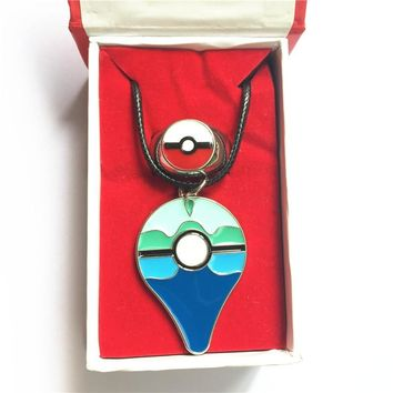 2 pcs per lot  Go Dive ball Ring necklace set Alloy jewelry badge pins set in gift box Cosplay Collection GiftKawaii Pokemon go  AT_89_9