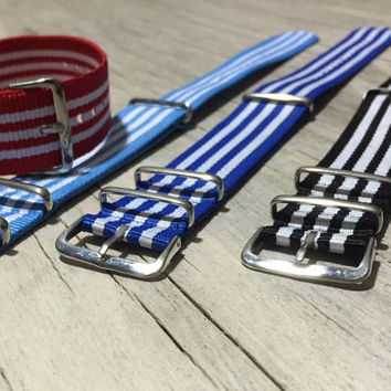 Sporty Nylon Nato Style Watch Strap, 22mm wide, Comes in Red/White, Blue/White, Black/White and Sky Blue/White Striped