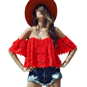Sexy hollow out lace crochet crop top Off shoulder fringe summer beach blouse women Elegant strapless red blusas bob tube tops