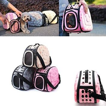Outdoor Travel Bag Pets Dogs Cats Portable Backpack Carrier Folding Zipper Box