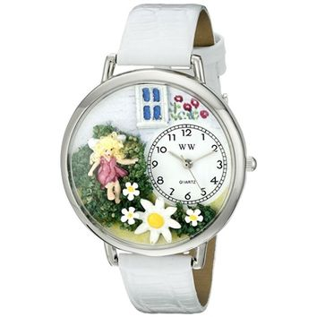 SheilaShrubs.com: Unisex Daisy Fairy White Leather Watch U-1210012 by Whimsical Watches: Watches