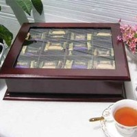 LARGE Fancy Tea Bag Chest Cabinet / Tea Bag Storage Box, Solid Wood, Mahogany Finish (TEA1-MA)
