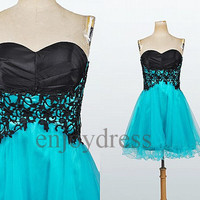 Short Prom Dress Applique Ball Gown Formal Evening Dress Lovely Party Dresses Wedding Party Dress  Bridemaid dresses 2014 Dress Party