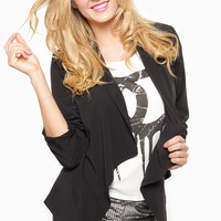 Geometric Cut Draped Black Blazer