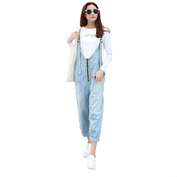 Women's casual loose zipper calf length denim bib overalls Fashion harem pants Jumpsuits Jeans