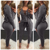 Fashion Autumn Winter Lace Up Rompers Women Jumpsuit Knitting Grey Red S-XL Bodysuits Pockets Long Sleeve Jumpsuits Plus Size