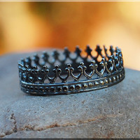 Black Queens Crown Ring, Oxidized Sterling Silver Stacking Ring, Silver Crown Ring, Royal Crown Ring, Queens Crown Stacking Ring, Delicate