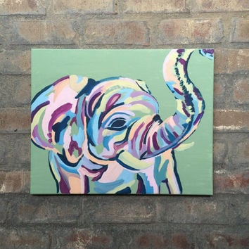Abstract elephant painting, colorful elephant, elephant painting