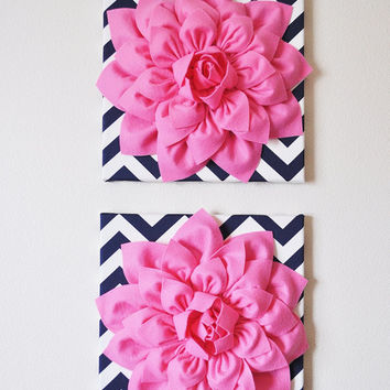 "Wall Flower -Pink Dahlia on Navy and White Chevron 12 x12"" Canvas Wall Art- 3D Felt Flower"