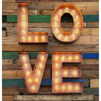 "Marquee LOVE sign 18""...Custom steel LOVE sign, Light up LOVE sign, Vintage love sign, Marquee sign, light up letter"