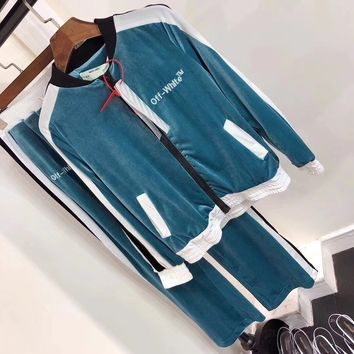 """OFF-White"" Women Casual Fashion Gold Velvet Multicolor Long Sleeve Zip Cardigan Coat Trousers Set Two-Piece Sportswear"