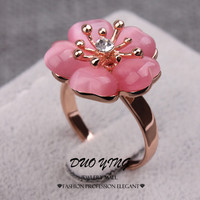 Pink 9 2015 Young Ladies Rings Anel Ouro Kpop Anillos 18k Rose Gold Filled Pink Opal Flower Crystal Engagement Rings For Women