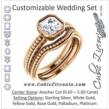 CZ Wedding Set, featuring The Cheyenne engagement ring (Customizable Asscher Cut Bezel-set Solitaire with Beaded Filigree Three-sided Band)