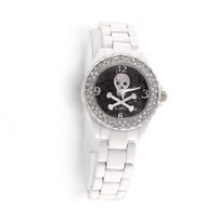 Bling Jewelry Stainless Steel CZ White Enamel Black Skull Watch