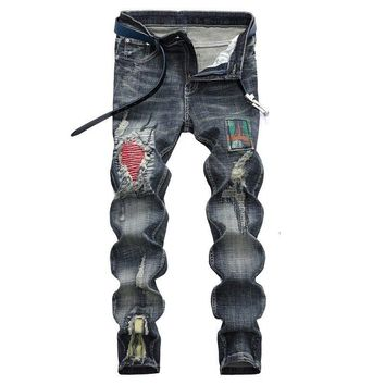 Stretch Denim pants Wash Casual Ripped Jeans Mens Skinny Motorcycle Jeans Distressed Slim Elastic Biker Jean trousers blue 28-42