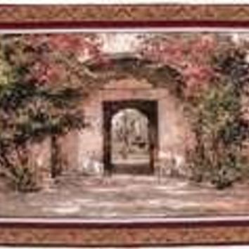 "Flowered Doorway - 53""x40"" Tapestry Wall Hanging"