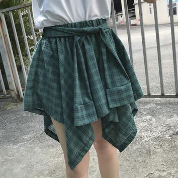 Women's 2017 New Korean Irregular False Two Plaid Skirt Waist Slim Skirt Students #110026