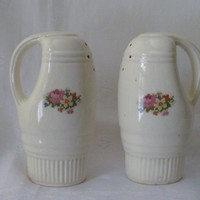 Cross Stitch Petit Point Flower Patterned Large Salt Pepper Shakers