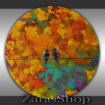 Abstract birds on a wire painting 20' round canvas original art bright colorful background circle unique textured wall art work for kids