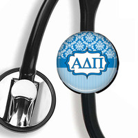 Stethoscope ID Tag - Alpha Delta Pi Damask & Stripes