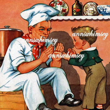 "Nursery Rhyme Art  - Vintage Restored Art Print - ""Patty Cake, Patty Cake Baker's Man"" , Children's Room Print, Bakery Print, Gift for Cook"