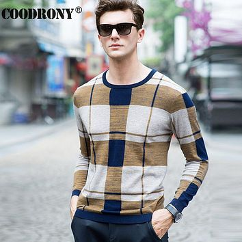 High Quality Soft Warm Merino Wool Sweater Men Clothing Leisure Striped O-Neck Sweaters Knitted Cashmere Pullover Man