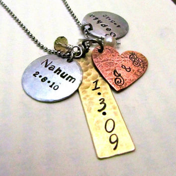 Custom Mom Jewelry  Personalized Family by FiredUpLadiesHammer