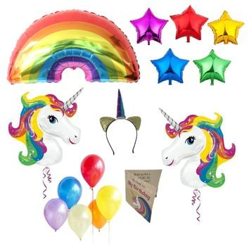 Unicorn Party Supplies Birthday Decorations - Unicorn Headband, Party Invitations, Rainbow Star and Regular Balloons for Girls by PartyFuFu
