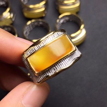 on sale fine jewelry Christmas gift s925 real 925 sterling silver natural beeswax fine rings for men anel male mens signet ring