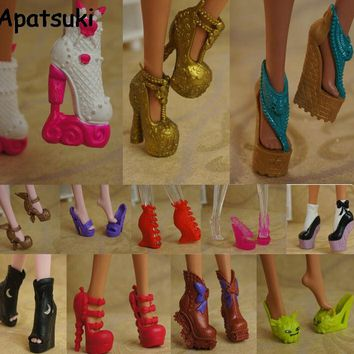 10pairs/lot 2017 New Colorful Accessories Shoes For Monster High Doll Fashion Boots High Heel Shoes Sandals For Monster Doll