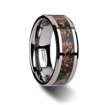 Brown Hunting Camo with Green Leaf Tungsten Carbide Ring