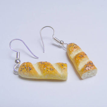 Food Jewelry Bread earrings, Baguette Earrings, Miniature Food Earrings, Mini Food Jewellery, Kawaii Jewelry, Gift for baker, Loaf earrings