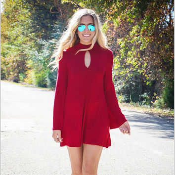 Long Sleeve Round-neck One Piece Dress [9342354820]