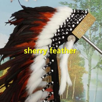 28inch orange Indian Feather headdress chief indian warbonnet halloween costume dancewear supply party event supply