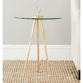 Safavieh Treasures Delma Gold/ Glass Top Accent Table | Overstock.com Shopping - The Best Deals on Coffee, Sofa & End Tables