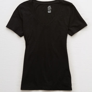 Aerie V-Neck Real Soft® Tee, True Black