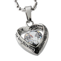 R.H. Jewelry Stainless Steel Mother and Son Cz Heart Pendant Necklace