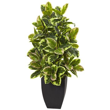 Silk Flowers -Rubber With Black Wash Planter Artificial Plant