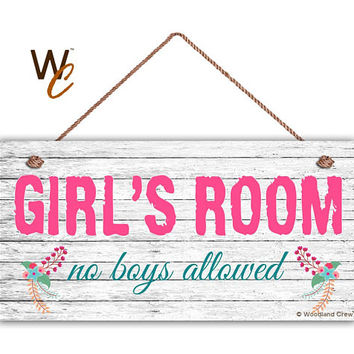 """GIRL'S ROOM Sign, No Boys Allowed, Girl's Room Decor, Nursery, Girl's Door Sign, 5"""" x 10"""" Sign, Room Plaque, Birthday Gift,  Made To Order"""