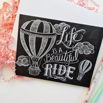 Chalkboard Card - Hot Air Balloon Illustration - Blank Notecard - Life Is a Beautiful Ride - Hand Lettered Card