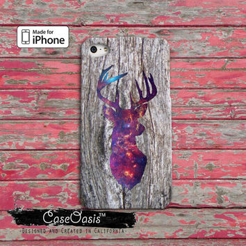 Deer Head Galaxy Wood Grain Space Antlers Cute Hunting Tumblr iPhone 4 and 4s Case and iPhone 5 and 5s and 5c Case iPhone 6 and 6 Plus +