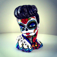 Pinup Girl Vase Glamour Girl Planter Colorful Tattoo Lady Head Day of the Dead Red Roses Blue Bird Sacred Heart white black