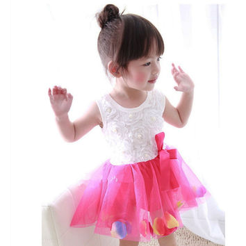 Baby Girls Dress Summer Lace Birthday Party Dance Dresses Infant Girl  Ribbon Bow Chiffon Princess Wedding Dresses Gift CL2042