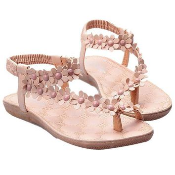 Women Female Bohemia Sweet Beaded Sandals Clip Toe Sandals Summer Beach Shoes US