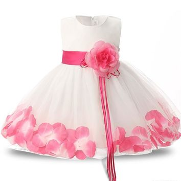 Fairy Petals Kids Party Costume For Baby Girls Tutu Evening Dresses Children's Clothing Princess Flower Girl Dresses For Wedding