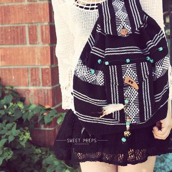 Bohemian Aztec Backpack, Button Backpack, Back To School Tote, Vintage Aztec Print Backpack, Hipster Backpack