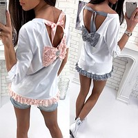Lace Stitching Back Deep V Backless Diamond Bow Long Sleeve T-shirt Women Tops