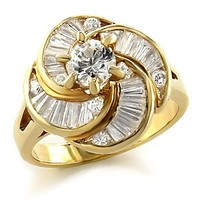 Goldtone Swirl Design Solitaire and Baguette CZ Fashion Ring
