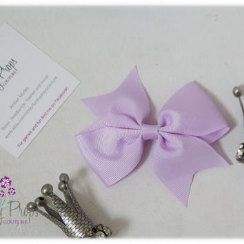 3.5 inch lavender  bow.  Christmas. Stocking Stuffers. Back to school.  Birthday girl. Ready to ship.